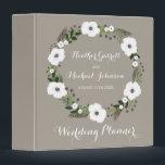 "Floral Wreath Wedding Planner Binder<br><div class=""desc"">Floral Wreath on taupe,  wedding planning binder. Customizable. Part of a wedding collection</div>"