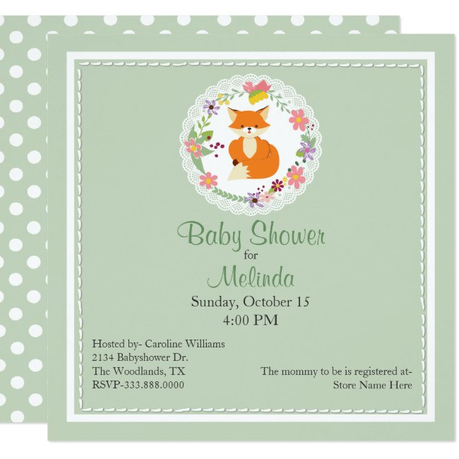 Floral Wreath with Fox Baby Shower Invitation