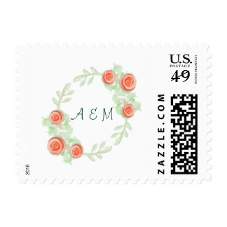 Floral Wreath with Initials Stamp