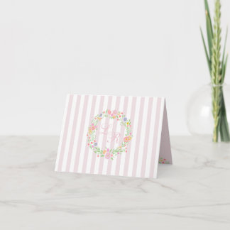 Floral Wreath with Monogram and Pink Stripes Note Card
