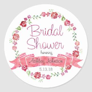 Floral Wreath with Roses - Bridal Shower Stickers