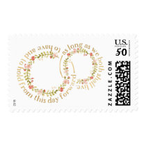 Floral Wreaths and Wedding Vows Postage Stamps