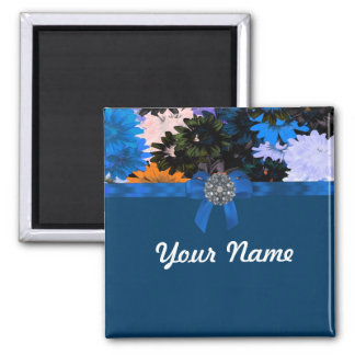 Floral y azul coloridos imán cuadrado