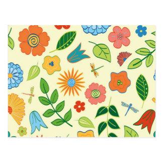 Floral y libélula modelados tarjetas postales