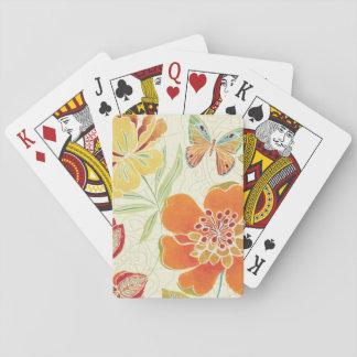 Floral y mariposas barajas de cartas