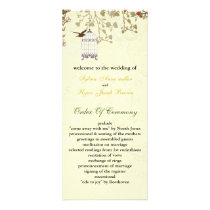 floral yellow bird cage, birds wedding programs