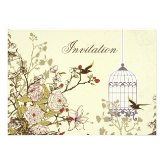 floral yellow bird cage, love birds invites
