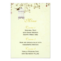 floral yellow bird cage, love birds Menu Cards