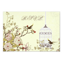 floral yellow bird cage, love birds RSVP 3.5 x 5 Card