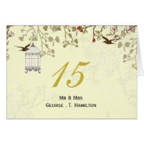 floral yellow bird cage, love birds table numbers card