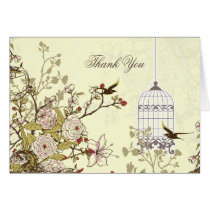 floral yellow bird cage, love birds Thank You Card