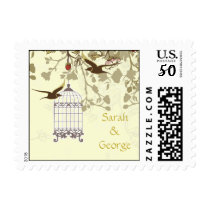 floral yellow bird cage, love birds wedding stamps