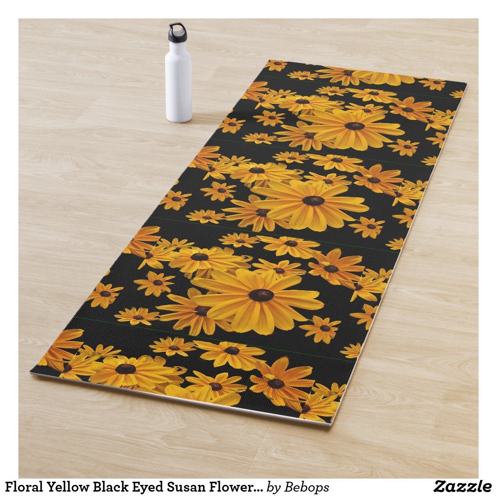 Floral Yellow Black Eyed Susan Flowers Yoga Mat