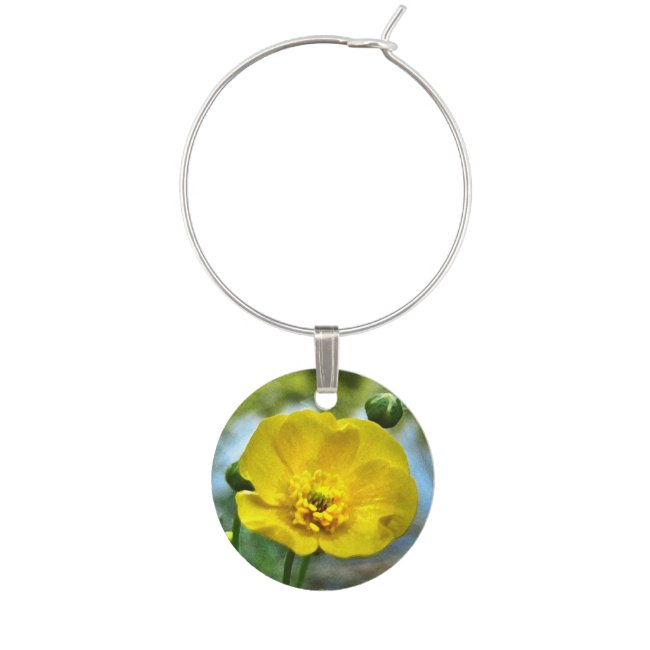 Floral Yellow Buttercup Flower Wine Charm
