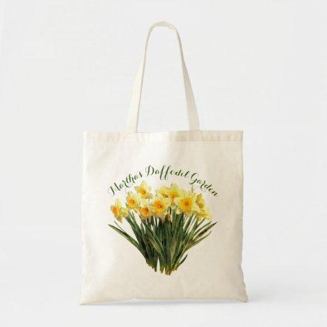 Floral Yellow Daffodils Monogram Name Tote Bag