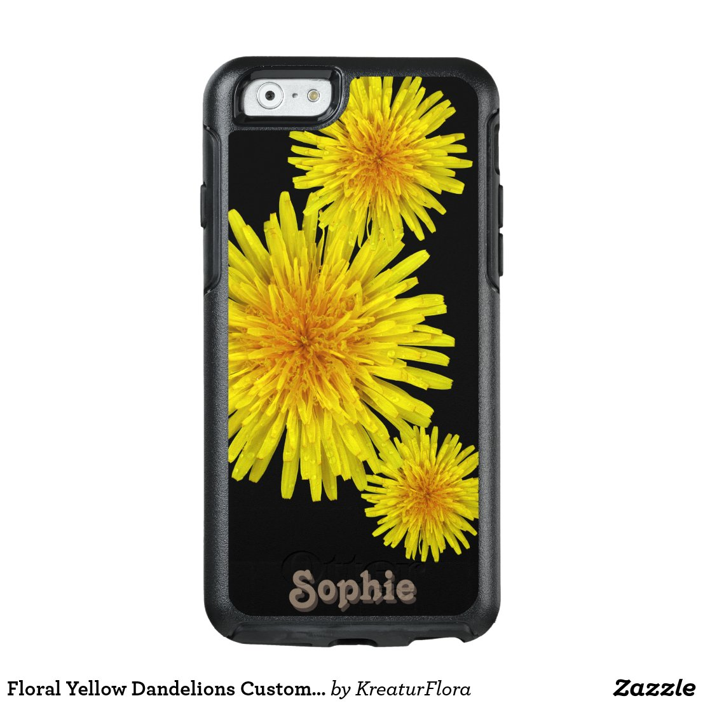 Floral Yellow Dandelions Custom Name