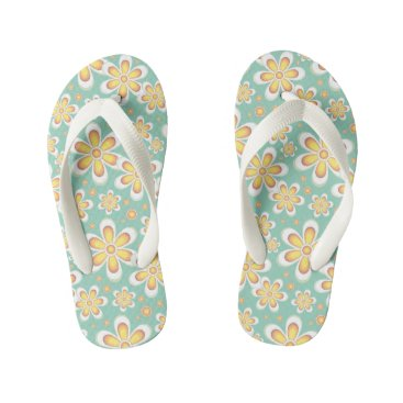 Beach Themed Floral Yellow Flower Mint Green Pattern Flip Flop