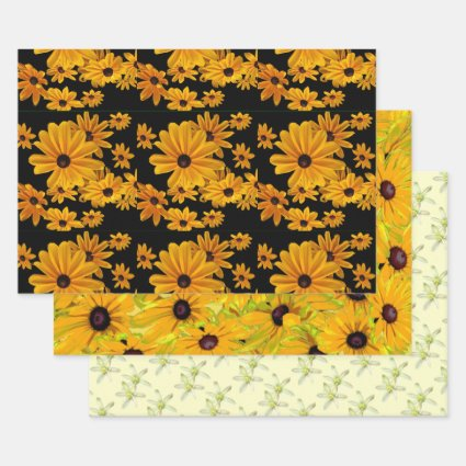 Floral Yellow Flowers Wrapping Paper Sheet Set