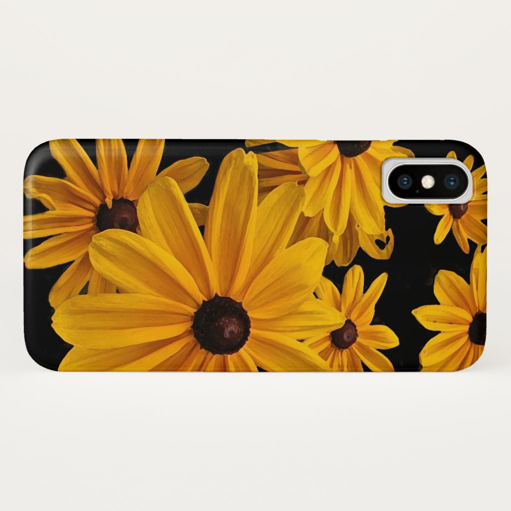 Floral Yellow Garden Flowers Black iPhone X Case