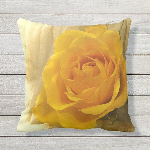 Floral Yellow Garden Rose Flower Outdoor Pillow