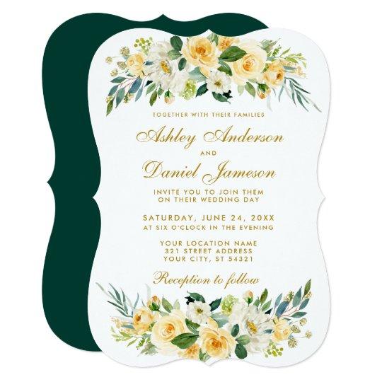 Fl Yellow Gold White Hunter Green Wedding Invitation