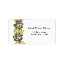 "floral ""yellow gray"",return address label"