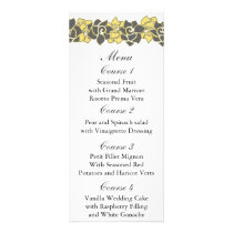 "floral ""yellow gray"" Wedding menu"