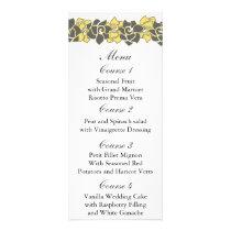 "floral ""yellow gray"" Wedding menu"
