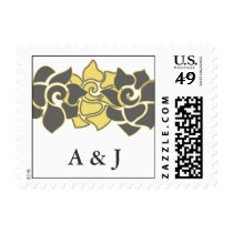 "floral ""yellow gray"" wedding postage"