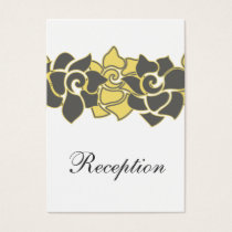 "floral ""yellow gray"" wedding Reception Cards"