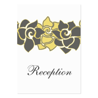 """floral """"yellow gray"""" wedding Reception Cards Large Business Cards (Pack Of 100)"""