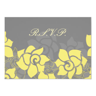 "floral ""yellow gray"" wedding RSVP Card"