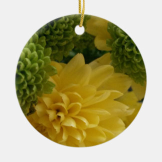 Floral yellow/green ceramic ornament