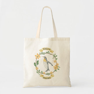 Floral Yellow Penguin Personalized Library Bag