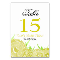 Floral yellow Personalized table numbers Card