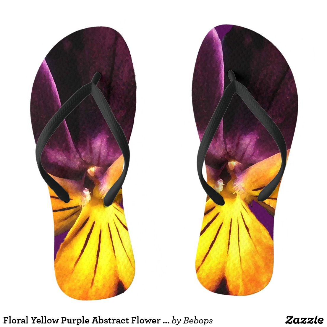 Floral Yellow Purple Abstract Flower Flip Flops