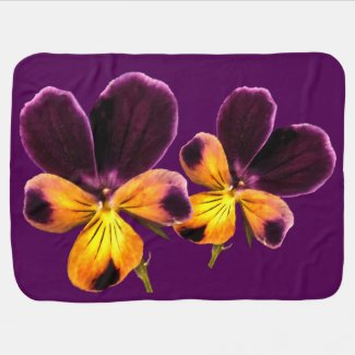 Floral Yellow Purple Flower Baby Blanket
