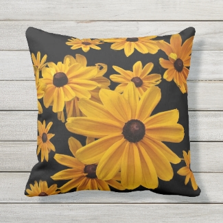 Floral Yellow Rudbeckia Flowers Outdoor Pillow