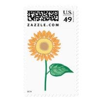 Floral Yellow Sunflower Gold Green Flower Wedding Postage