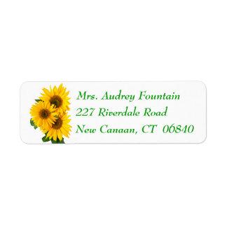 Floral Yellow Sunflower Green Flower Address Label