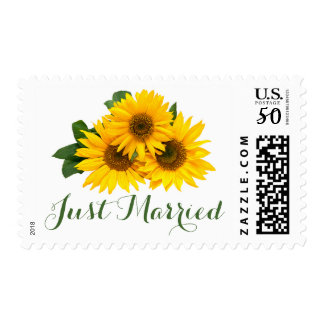 Floral Yellow Sunflower Green Just Married Flowers Postage