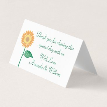 Beach Themed Floral Yellow Sunflower Green Thank You Wedding Place Card