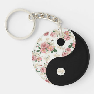 Floral Yin and Yang Keychain