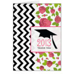 Floral & Zigzag Graduation Thank You Card