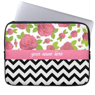 Floral & Zigzag Mixed Prints Electronics Bag Laptop Computer Sleeves