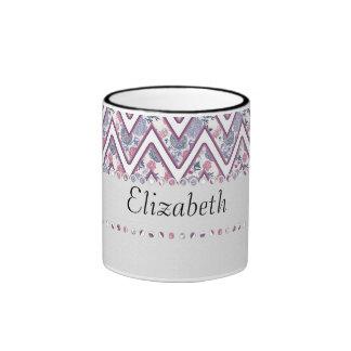Floral ZigZag Monogram Ringer Coffee Mug
