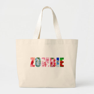 Floral Zombie Large Tote Bag