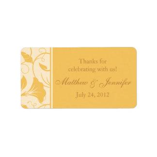 Florales amarillos de oro le agradecen etiqueta etiquetas de dirección