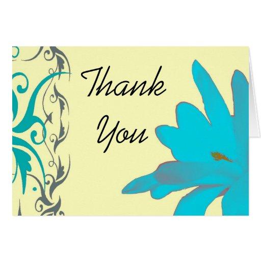 Florales azules le agradecen tarjetas
