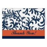 Florales azules y anaranjados le agradecen tarjetas